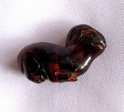Antique 19th C Qing Chinese HandCarved Natural Amber Pendant- Ram
