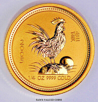 2005 Australia 25 Dollars Lunar Year of the Rooster .9999 Gold Coin - 1/4 OZ