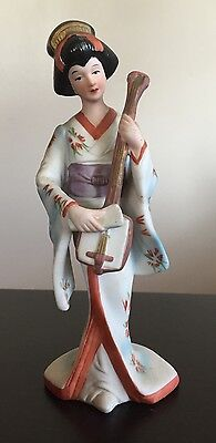 Fine Old Vintage Korean Ceramic Painted Beauty Lady Woman in Dress Statue Figure