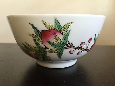Fine Old Chinese Porcelain Peaches Fruit Blossom Bowl SIGNED Painted Art
