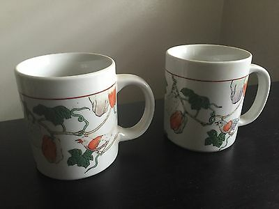 Fine Old PAIR Chinese Porcelain Fruit Birds Mugs Cups GUANGZHOU Arts Crafts NR