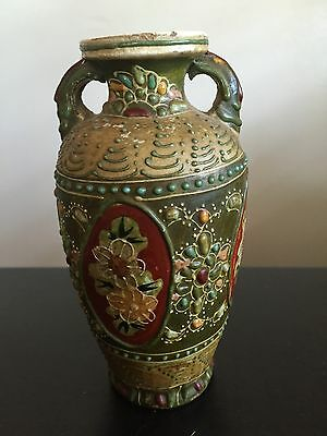 Fine Antique Japanese Satsuma Bottle Vase Flowers Beading Dub Handle Art WOW