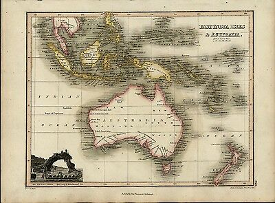 New Holland Australia Maori canoe New Zealand 1819 old Wyld Hewitt Thomson map