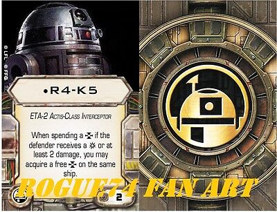 Custom X-Wing miniatures Fan Art upgrade card.  Astromech: R4-K5