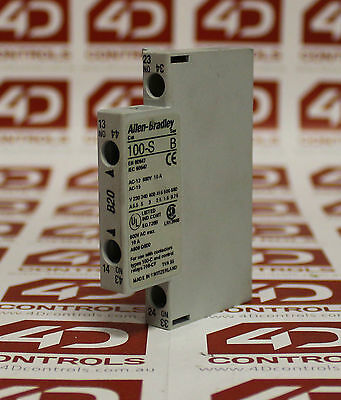 Allen Bradley 100-S-B20 Auxiliary Contact Block, Side Mounting, 2 N.O. Contac...