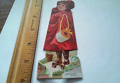 victorian advertising trade card McLaughlin's XXXX Coffee stand up folding Girl