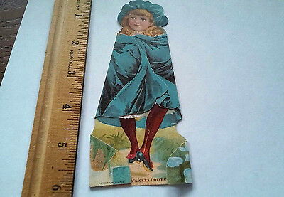 victorian girl advertising trade card McLaughlin's XXXX Coffee stands folds