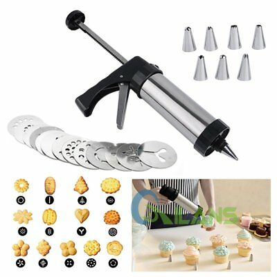 Stainless Steel Cookie Press And Icing Set Cookie Gun Icing Nozzles&Pattern Disc