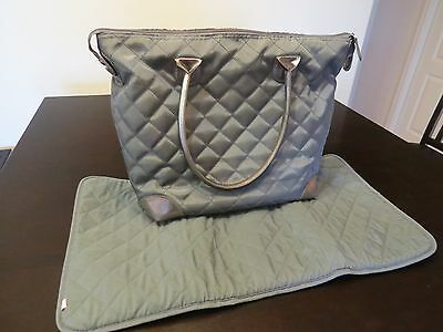 Isabel Grayson Diaper Tote Bag Grey Gray Insulated Compartment Changing Pad