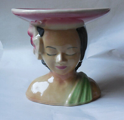 Vintage Shawnee Pottery Polynesian Hawaiian Woman Bust Head Vase