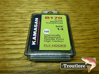 100 x KAMASAN B170 #14 NYMPH / WET FLY HOOKS - NEW FLY TYING MATERIALS