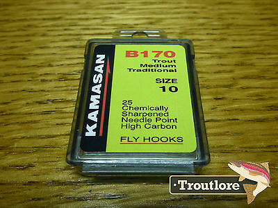 25 x KAMASAN B170 #10 NYMPH / WET FLY HOOKS - NEW FLY TYING MATERIALS