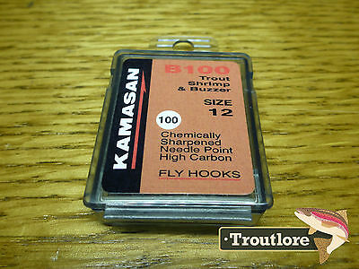 100 x KAMASAN B100 #12 GRUB / SCUD FLY HOOKS - NEW FLY TYING MATERIALS