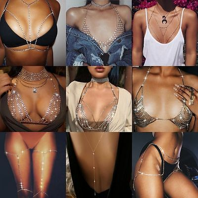 Women Girl Shiny Crystal Rhinestone Bra Chest Body Chains Bikini Fashion Jewelry