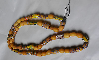 Vintage African Trade Bead Yellow Glass Necklace Assorted Beads