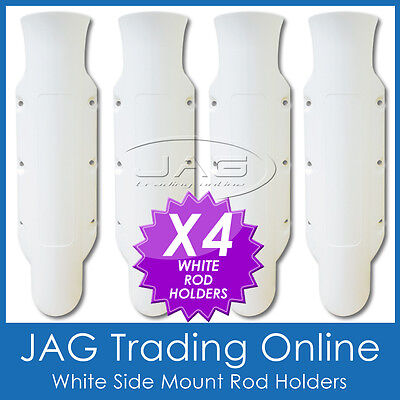 Fishing Side Mount White Rod Holders X 4