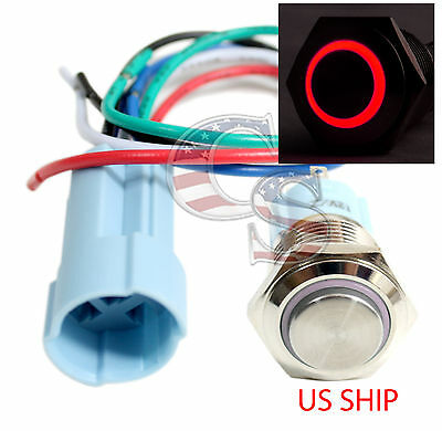 SSH 16mm Red Angel Eye LED 12V Latching Push Button Power Switch Waterproof