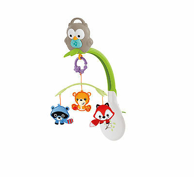 Fisher Price 3 in 1 Musical Mobile Motorized Crib Woodland Friends Carry Handle