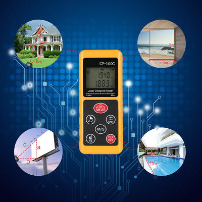 100M Handheld Digital Laser Distance Meter Range Finder Measure Tool Waterproof