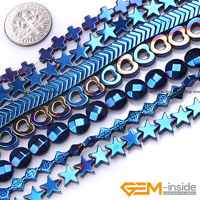 Assorted Shapes Blue Metallic Coated Reflections Hematite Jewelry Making Beads
