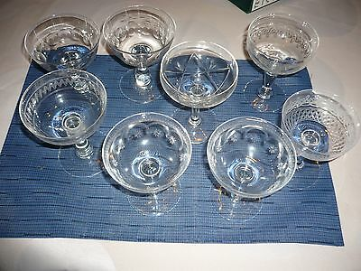 Lot De 8 Coupes En Verres Depareillees Val Saint Lambert