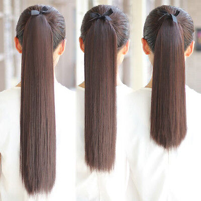 """16""""-30"""" Ribbon Ponytail Clip in 100% Human Hair Extensions Strap-On Pony Tail"""