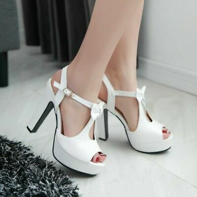 New Women Bow Platform Stiletto high Heels Buckle Peep Toe Shoes Sandals DD11