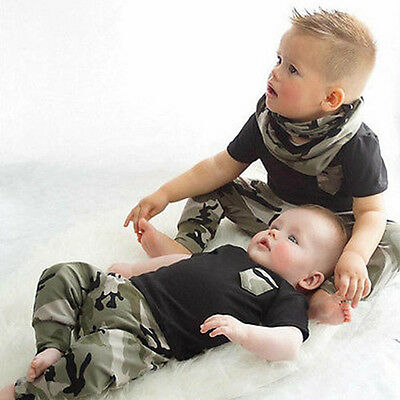 Newborn Infant Baby Boy Summer T-shirt Tops+Camouflage Pants Outfit Clothes 2PCS