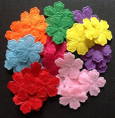 Felt flowers Mixed Colour Embellishments 21mm 50pcs