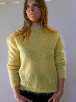 Vintage retro true 80s S M yellow mohair knit jumper top hand knit very good