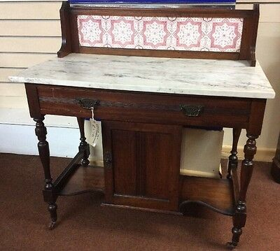 Edwardian Marble Top Tile Back Washstand