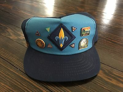 Vintage Boy Scout Webelos Hat With Pins Snapback Made In USA