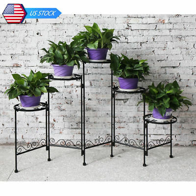 5 Tier Decorative Folding Metal Plant Stand Flower Pot Display Shelf Stand Black