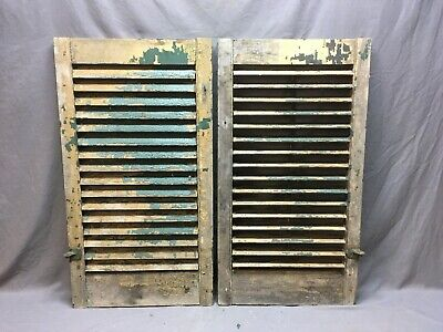Antique Pair Window Wood Louvered Shutter Shabby Old Chic Vtg 36x19 299-17R