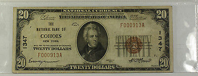 1929 Type 1 $20 National Currency Banknote Cohoes NY Charter # 1347