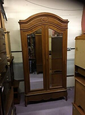 An Antique King Wood Double Mirrored Door Wardrobe Single Drawer