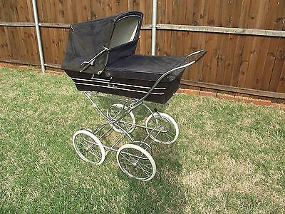 Vintage Navy Blue Silver Cross Pram; Local pick-up only