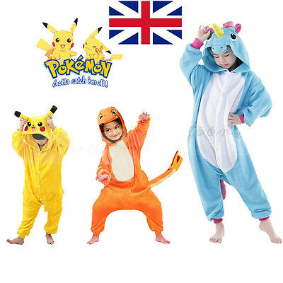 Child Jumpsuits Pokemon Costume Animal Pajamas Pikachu Charmander Kigurumi
