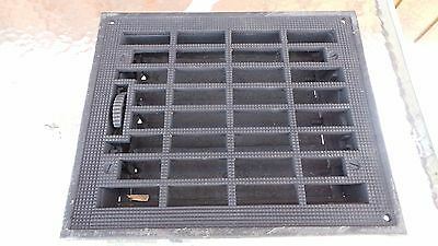 Vintage VICTORIAN Cast Iron Floor Grille 12x9 Heat Grate Register + Louvers