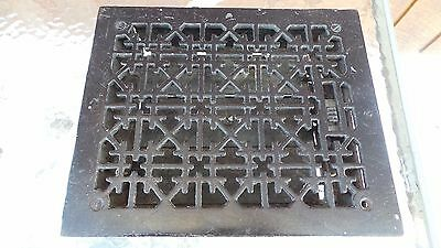 ANTIQUE VICTORIAN Cast Iron Floor Grille 11x9 Heat Grate Register + Louvers