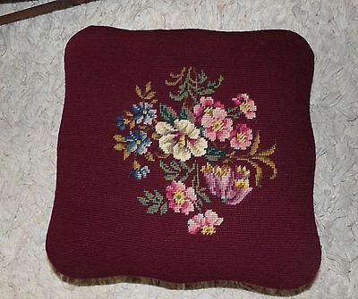 Hand Needlepoint Solid Mahogany Wooden Footstool Floral on Burgundy Wine VNC