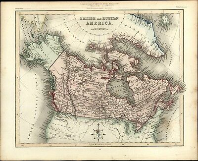 British Russian North America Alaska Canada 1848 fine antique Gilbert Archer map