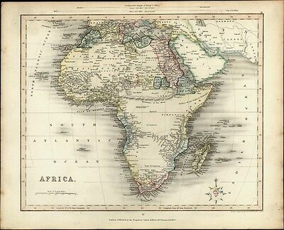 Africa continent huge Mts. of Moon shown 1848 lovely antique Gilbert Archer map