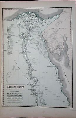 Ancient Egypt Africa Nile River Delta Cairo Thebes Arabia Petrae c.1855 old map