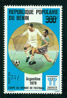 Benin Scott #593 MNH 75fr on 300fr #398 World Cup Soccer CV$13+