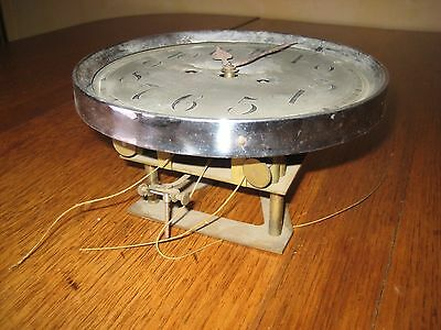 Antique Vienna Wiener Regulator Clock Movement w/ Back Mount, orig Silvered Dial