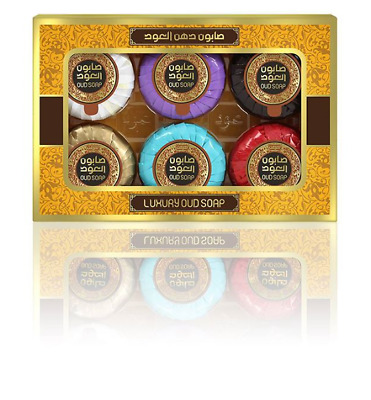 Oud Miniatures Soap Collection, Box Set of 6 Scents for Gifts & Travel