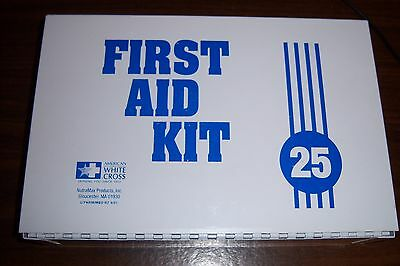 Vintage First Aid Kit 25 American White Cross Metal Box + Some assorted supplies