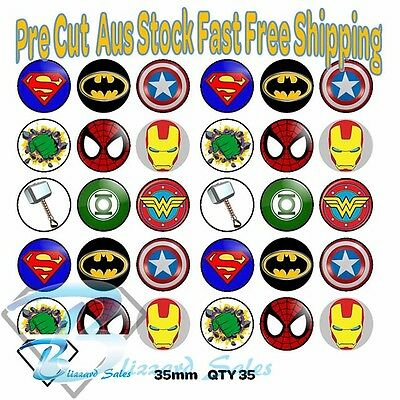 30x Marvel Superhero Cupcake Toppers Edible Icing or Wafer Precut 35mm Cake