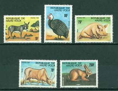 Burkina Faso Scott #587-591 MNH Animals Fauna CV$6+